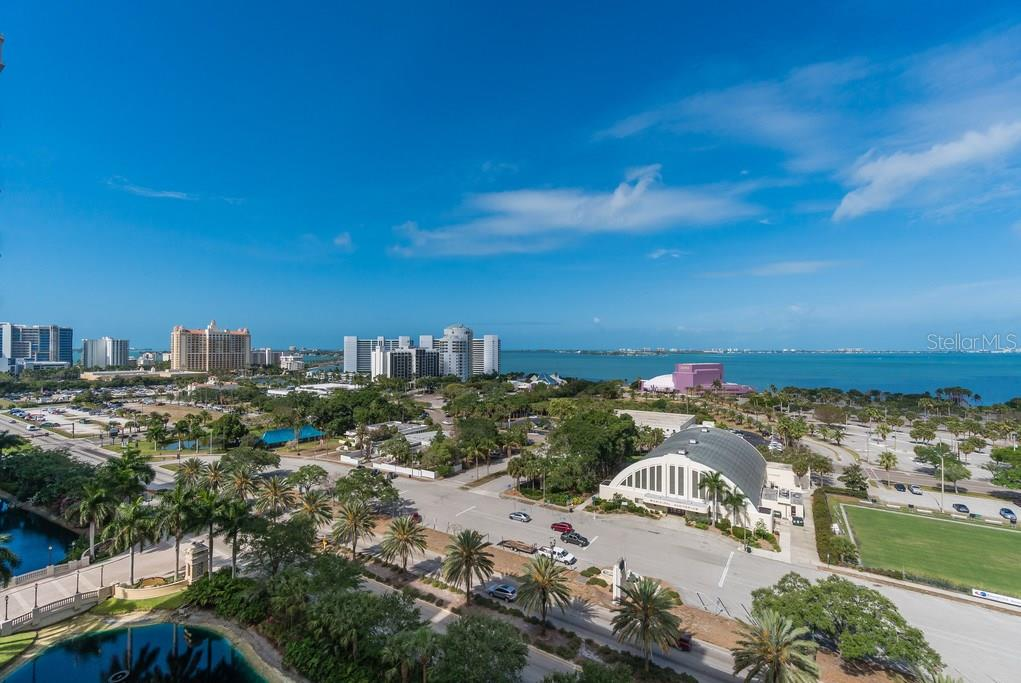 The master bedroom has views to the Bay on one side and morning views to the east.  There are sliders to a balcony. - Condo for sale at 800 N Tamiami Trl #1201, Sarasota, FL 34236 - MLS Number is A4184297