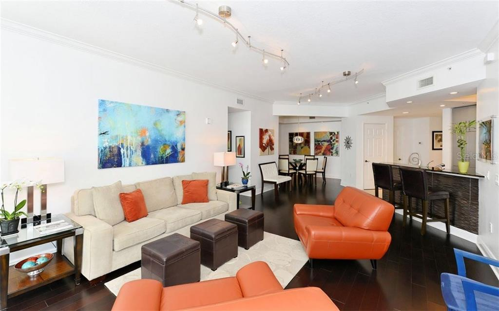 OPEN CONCEPT KITCHEN, LIVING ROOM AND DINING ROOM - Condo for sale at 100 Central Ave #h716, Sarasota, FL 34236 - MLS Number is A4193586