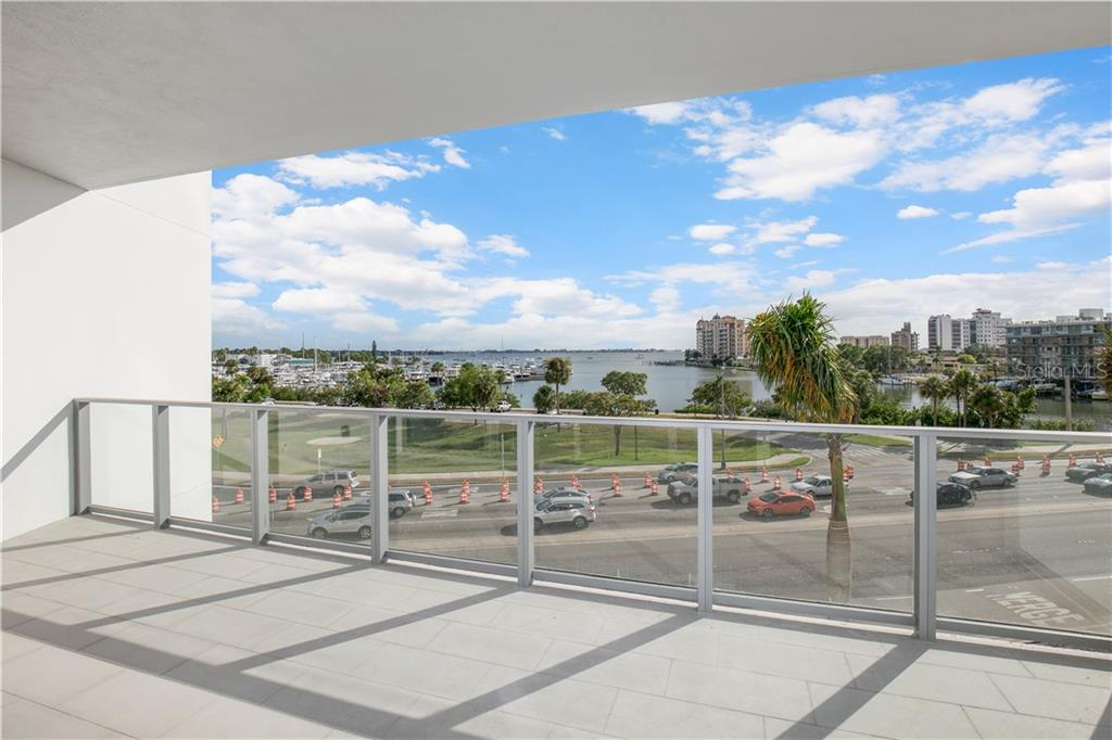 Balcony with beautiful Sarasota Bay views - Condo for sale at 1155 N Gulfstream Ave #305, Sarasota, FL 34236 - MLS Number is A4202467