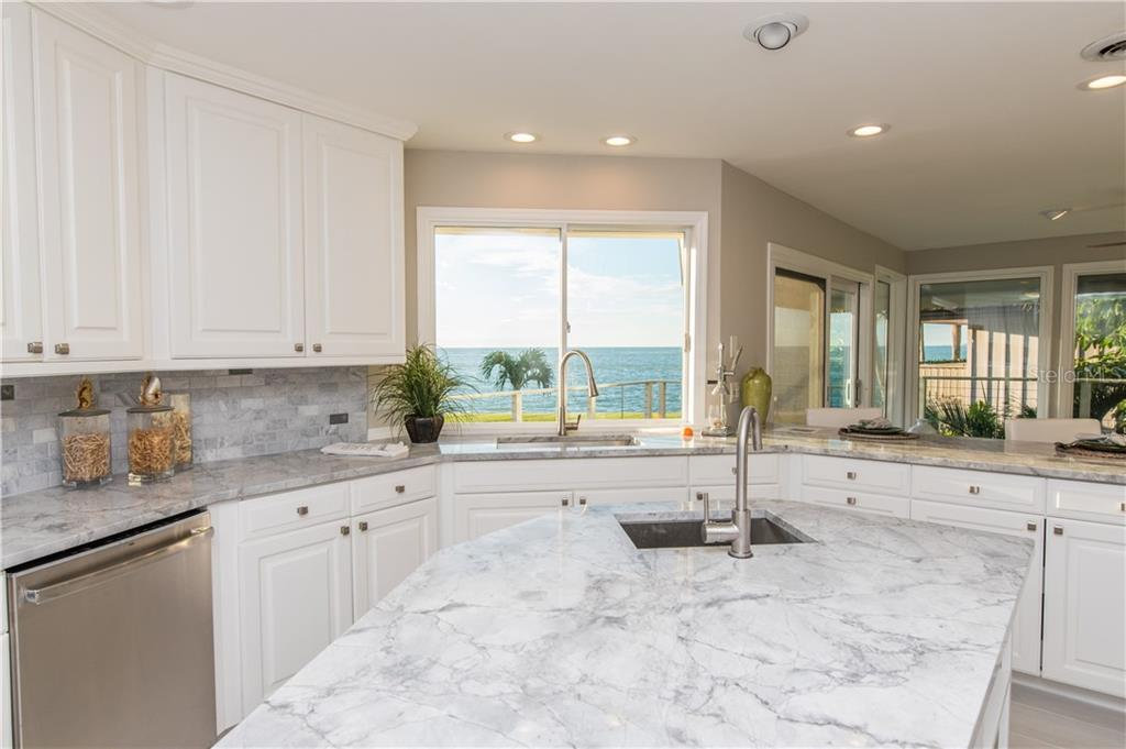 Kitchen with a view of Gulf of Mexico. - Single Family Home for sale at 108 Sand Dollar Ln, Sarasota, FL 34242 - MLS Number is A4421218