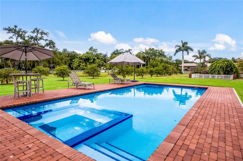 Pool/spa setting amongst the backyard and fruit trees. - Single Family Home for sale at 590 Bayshore Dr, Terra Ceia, FL 34250 - MLS Number is A4437024