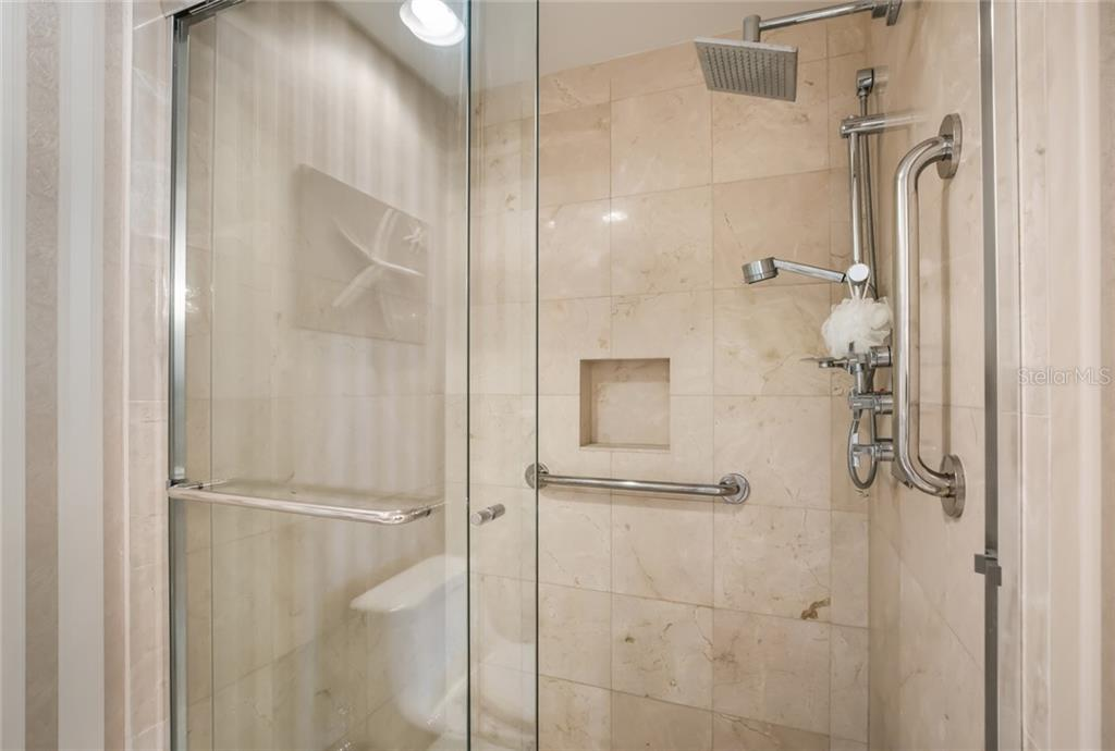 Fully updated master shower with luxury hardware and fixtures. - Condo for sale at 1800 Benjamin Franklin Dr #b506, Sarasota, FL 34236 - MLS Number is A4451047