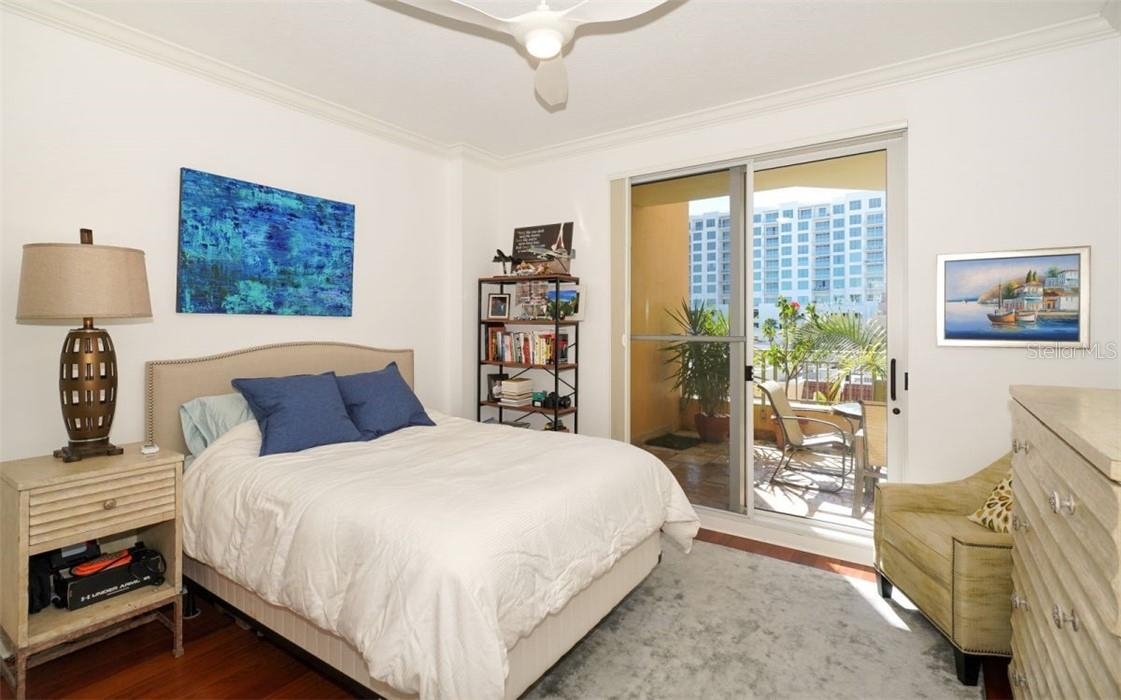 Bedroom also opens to the large terrace - Condo for sale at 100 Central Ave #A304, Sarasota, FL 34236 - MLS Number is A4458873