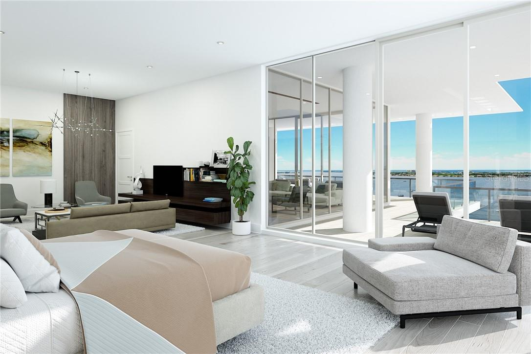 There is loads of room to spread out in the oversized Owners' Suite with bayront terrace, separate lounge/office area, huge walk-in closets and spa bath. - Condo for sale at 605 S Gulfstream Ave #Ph18, Sarasota, FL 34236 - MLS Number is A4458982