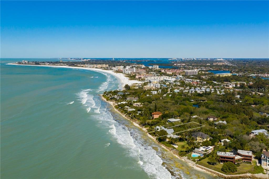 Aerial w/ views to N & NE - Single Family Home for sale at 7340 Point Of Rocks Rd, Sarasota, FL 34242 - MLS Number is A4461841