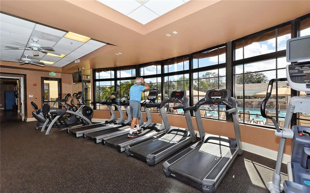 Fitness center overlooks pool - Villa for sale at 4605 Samoset Dr, Sarasota, FL 34241 - MLS Number is A4463082