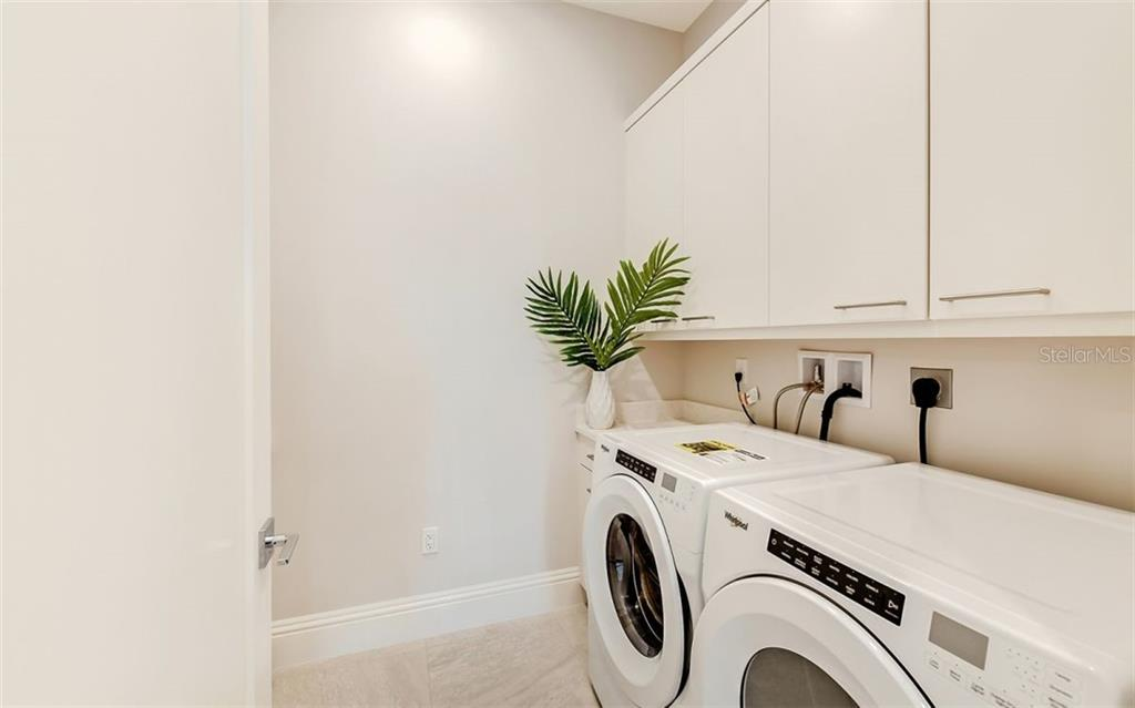 The laundry room is complete with washer, dryer, ample cabinetry and a deep sink. - Condo for sale at 609 Golden Gate Pt #201, Sarasota, FL 34236 - MLS Number is A4468917
