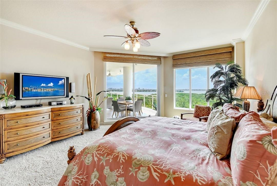 Terrace from master bedroom with partial Gulf view - Condo for sale at 1300 Benjamin Franklin Dr #708, Sarasota, FL 34236 - MLS Number is A4471978