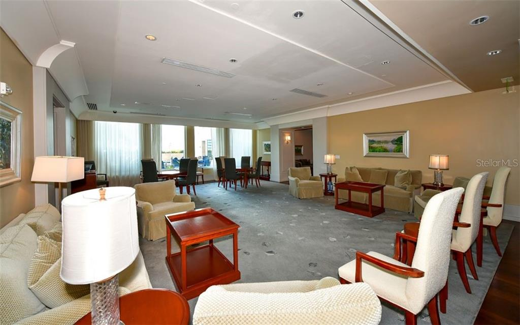 Common room opens to the pool deck - Condo for sale at 1350 Main St #1601, Sarasota, FL 34236 - MLS Number is A4478753