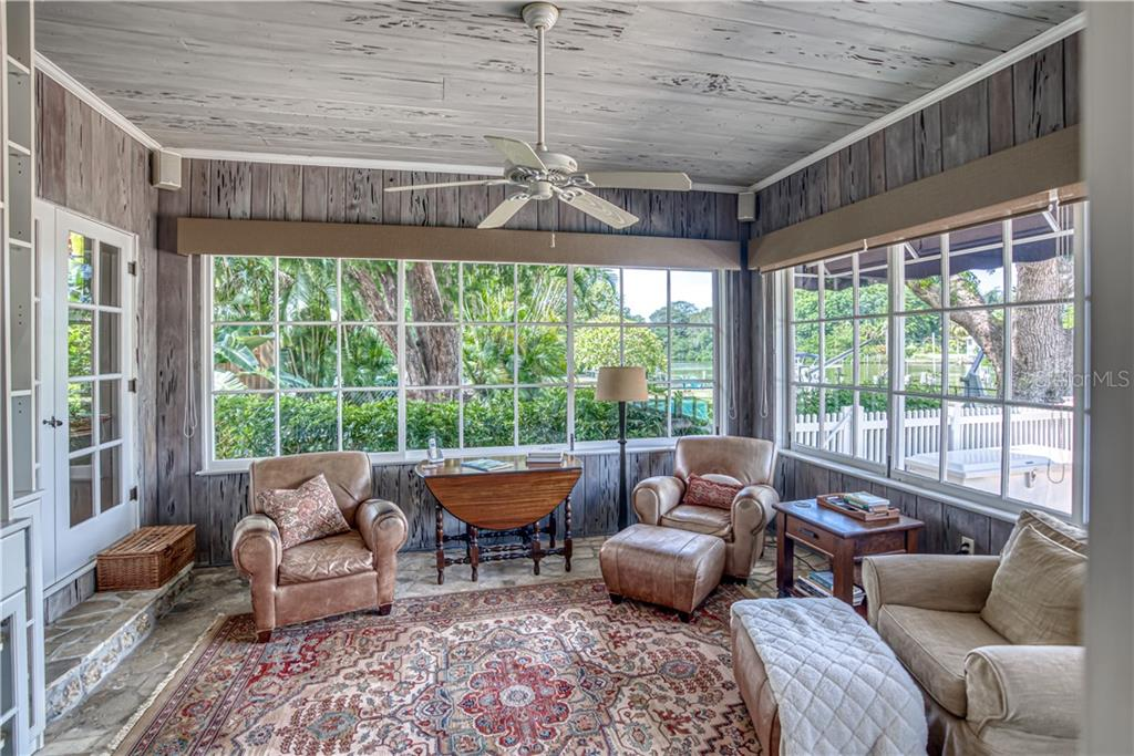 Florida Room/Bonus Room/Den with Views of Hudson Bayou - Single Family Home for sale at 1595 Bay Point Dr, Sarasota, FL 34236 - MLS Number is A4479218