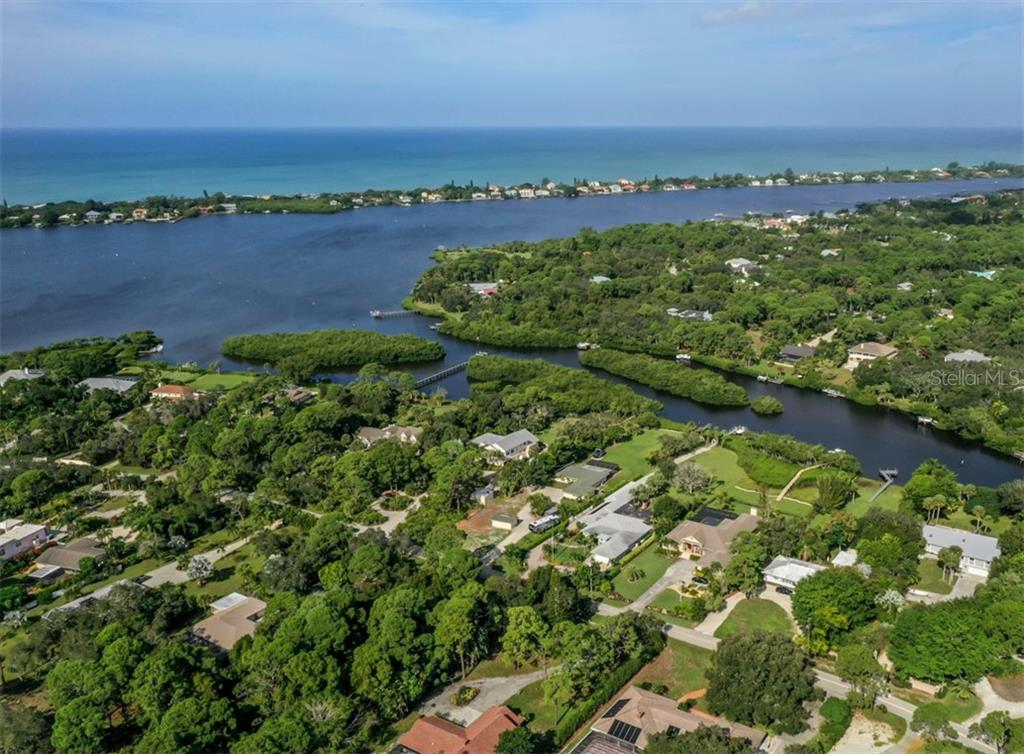 Aerial - Forked Creek leading to Lemon Bay -- Manasota Key and Gulf of Mexico - Single Family Home for sale at 1395 Bayshore Dr, Englewood, FL 34223 - MLS Number is A4480508