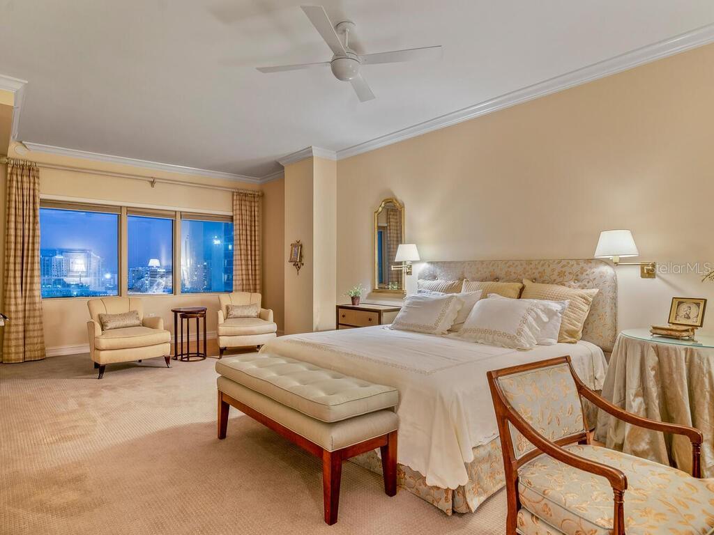 The master bedroom is very large and accesses a separate citywide terrace. - Condo for sale at 1111 Ritz Carlton Dr #1506, Sarasota, FL 34236 - MLS Number is A4480943