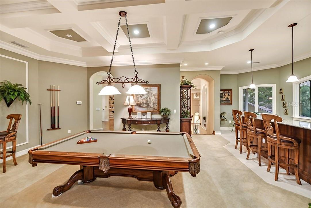Regulation pool table & a tall bistro table to the left for chess too - Single Family Home for sale at 8263 Archers Ct, Sarasota, FL 34240 - MLS Number is A4483993