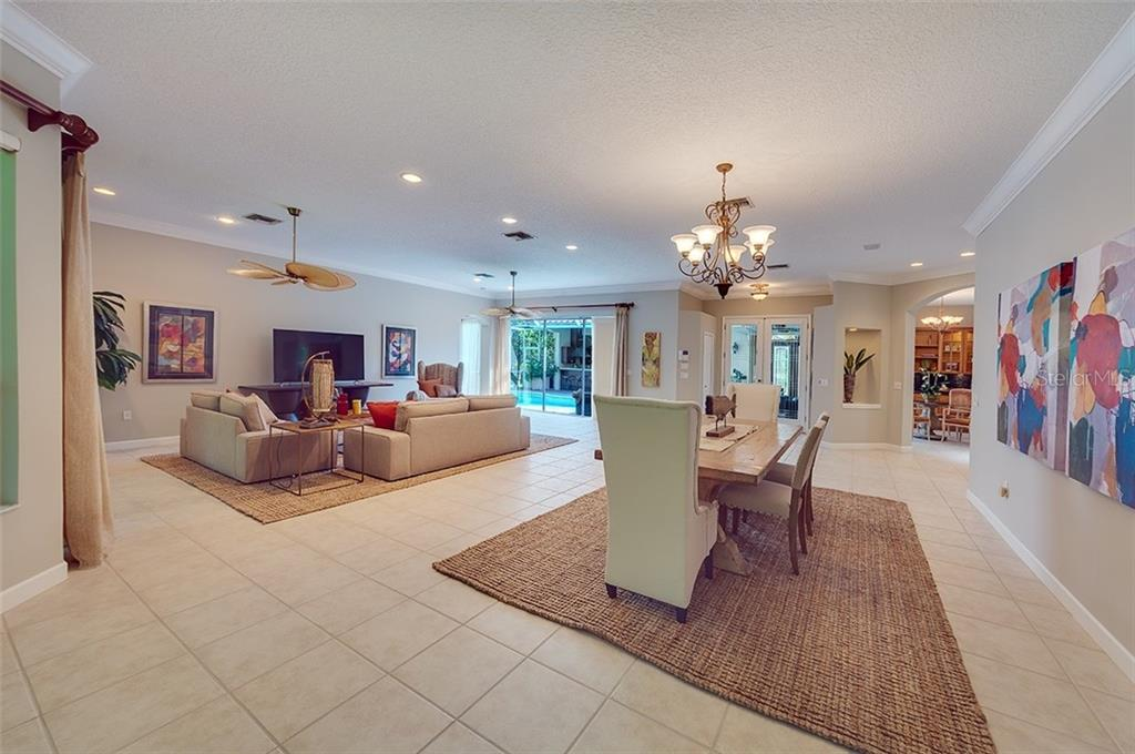 Great Room/dining room combination - what a great area for entertaining. - Single Family Home for sale at 2972 Jeff Myers Cir, Sarasota, FL 34240 - MLS Number is A4424133