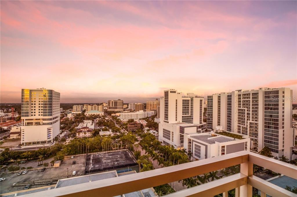The view of the city is so pretty from the large balcony off the master bedroom! - Condo for sale at 1111 Ritz Carlton Dr #1704, Sarasota, FL 34236 - MLS Number is A4442192